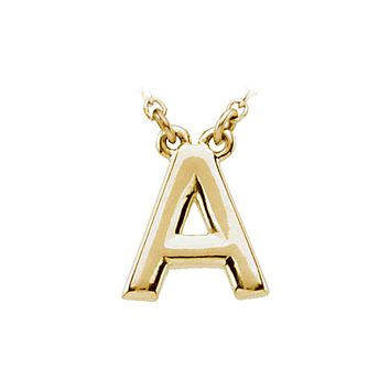 Block initial Necklace in 14k Yellow Gold, Letter A