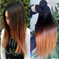6A Grade 1 bundle Brazilian Human Hair Extension Ombre Straight