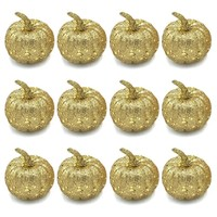 12Pcs  Halloween Decorative Simulation Pumpkin Gold and Silver Glitter Sequin Pumpkin  Halloween Decoration