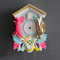 Neon Pink, Yellow & Gold Cuckoo Clock. Working Condition.