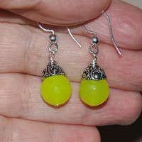 Jade Earrings, Neon Jade, Sterling silver Earrings, Dangle Earrings, Gemstone Earrings,  Lemon Jade, Fashion Jewelry