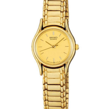 Seiko Ladies Gold-Tone Stretch Band Watch - Gold Tone Face