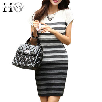 HEE GRAND 2016 Spring Women Casual Dress Fashion Striped Short Sleeve O-Neck Gradient Knitting Dresses Vestidos Femininos WZQ030