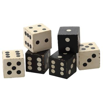 "Square Hand Carved Mango Wood Dice Set of 6 - Black/White (2"")"