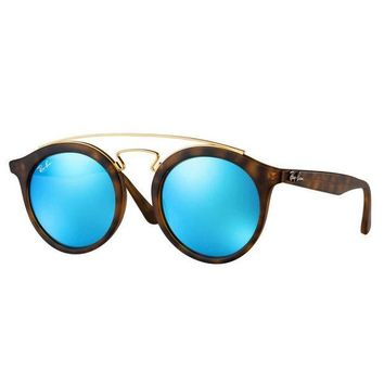 Kalete Ray Ban RB4256 609255 Gatsby I Sunglasses Tortoise Frame Blue Mirror Lens 49mm