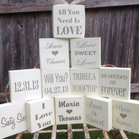 Table Signs - 12 Med. 5.5x5.5inch signs - TWO SIDED - Wedding Reception, Bridal Shower Decor, Favors! Reception Sign,
