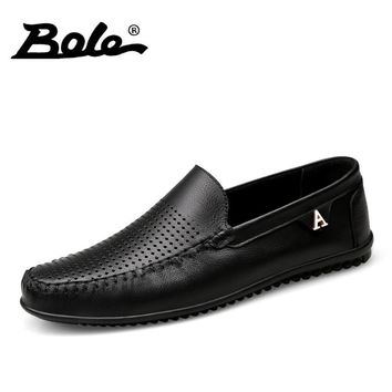 BOLE New Summer Punching Breathable Men Leather Shoes Fashion Walking Slip on Metal Decoration Men Casual Shoes Flats Shoes Men