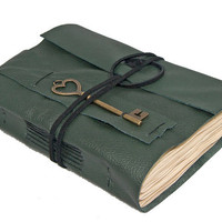 Green Leather Journal with Tea Stained Paper and Heart Key Bookmark