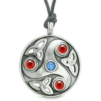 Goddess Celtic Triquetra Knot Protection Amulet Circle Royal Blue Red Crystal Pendant Necklace