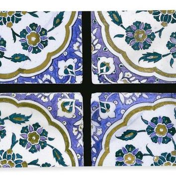 An Ottoman Iznik Style Floral Design Pottery Polychrome, By Adam Asar, No 14d - Bath Towel