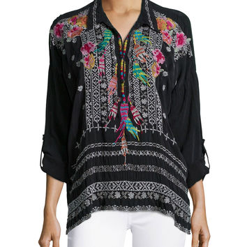 Indie Feather-Embroidered Blouse, Size: