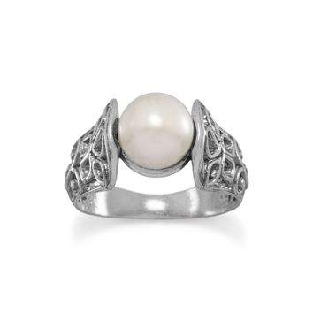 Sterling Silver Oxidized Ornate Cut Out Band Ring with Cultured Freshwater Pearl