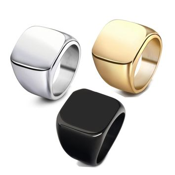 New Fashion Square Big Width Signet Rings Fashion man Finger Men Ring Titanium Steel Jewelry