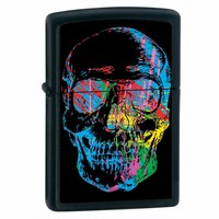 Zippo 28042 Classic Black Matte X-Ray Skull Windproof Pocket Lighter