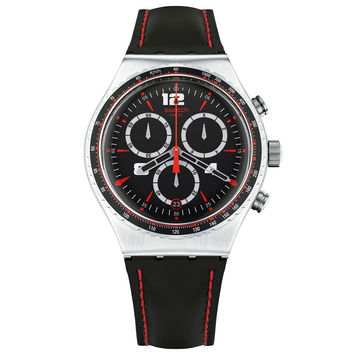 Swatch YVS404 Men's Pudong Irony Chrono Black Leather Strap Watch