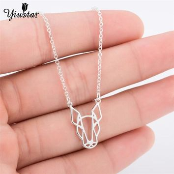 yiustar  Boho Hippie Vintage Animal Jewelry Gold Color Origami Bull Terrier Necklace for Women Lovely Pet Dog Statement Necklace