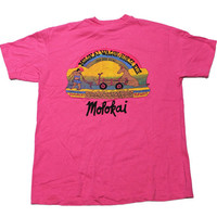 Vintage 80s Molokai, Hawaii Wagon and Horse Rides Tee Mens Size Medium