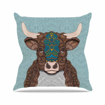 "Art Love Passion ""Bennie - The Bull"" Teal Brown Throw Pillow"