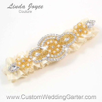 Ivory and Gold Vintage Wedding Garter Rhinestone 871 Ivory Custom Luxury Prom Garter Plus Size & Queen Size Available