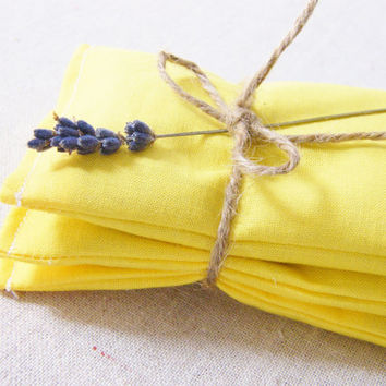 Fragrant Lavender Sachets  Canary Yellow  Set of 3  by gardenmis