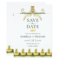 Elegant Tropical Save the Date Invitvitation Card