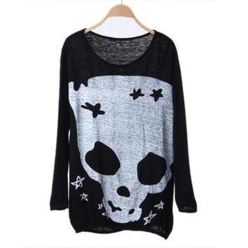 Women Pullover Black Long Sleeve Skull Print Loose Plus Size Knitted Sweater