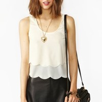 Scalloped Cutout Tank - Cream