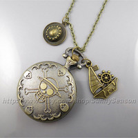 Anime One piece pocket watch necklace,Pirate Ship and Luffy favorite Straw hat Pendant locket watch necklace