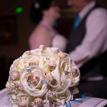 Sea Shell Wedding Bouquet with Ivory Real Touch Roses