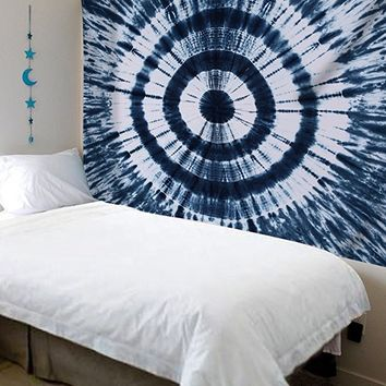 Urban Fab Tapestry Tie Dye Twin Tapestry Hippie Tapestry Tapestry Wall Hanging Bohemian Art Decor Single Mandala Dorm Coverlet (Blue)