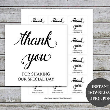 Wedding favor tags Wedding gift tags Wedding thank you tags Thank you for sharing our special day Printable (V32) Instant Download