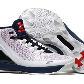 DCCKIJ2 Men's Under Armor Curry 3 Basketball Shoes White Pink