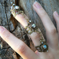 amethyst triple armor ring  nail ring nail claw nail tip knuckle ring vampire goth victorian moon goddess pagan witch boho gypsy style