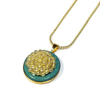 Repurposed Vintage Jewelry, Button Necklace Pendant, Yellow and Turquoise, Upcycled Jewelry, Retro