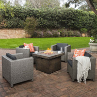 Patagonia Outdoor 4 Pc Wicker Club Chair Set with Firepit