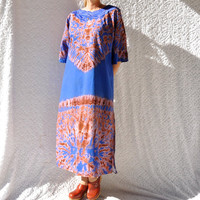 70s Batik Maxi Caftan Dress/ Bohemian Hippie Cotton Kaftan. Psychedelic Tie Dye Festival Party Dress. Boho Midi Day Dress/ medium. large