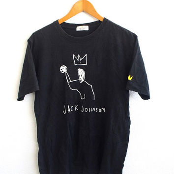 BIG SALE 25% Jean Michel BASQUIAT Jmb Jack Johnson Pop Art Graffiti Street Andy Warhol Designer Black Tee T shirt Size M