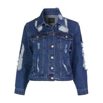 Casual Long Sleeve Vintage Distressed Denim Jacket With Pockets