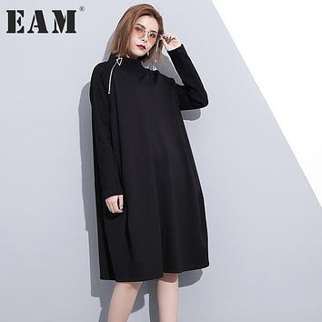 [EAM] 2017 Autumn Fashion New Solid Color Side Zipper Long Sleeve High Collar Loose Big Size Dress Woman All-match Tide YA174