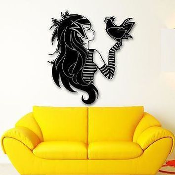 Wall Sticker Vinyl Decal Teen Girl with Bird Anime Manga Cartoon Kids Unique Gift (ig553)