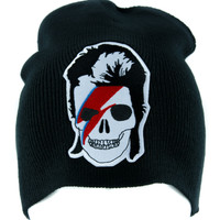 David Bowie Skull Lightining Bolt Beanie Knit Cap Alternative Gothic Clothing Ziggy Stardust