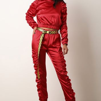 Satin Ruched Crop Top With Belted Pants Set