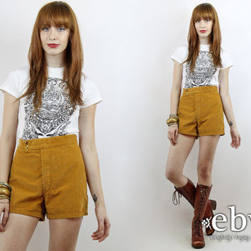 Vintage 70s High Waisted Cord Shorts M High Waisted Shorts High Waist Shorts Cord Shorts Hippie Shorts 70s Shorts Hippy Shorts Hot Pants