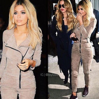 2016 New Women Autumn Winter Vintage Bodycon Jumpsuit Long Sleeve Rivet Fleece Jumpsuits Evening Party Romper