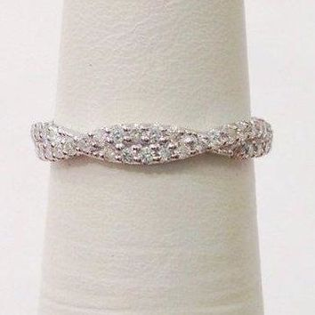 Luxinelle Love Twisted Diamond Wedding Band - Infinity Ring 14K White Gold by Luxinelle®Jewelry