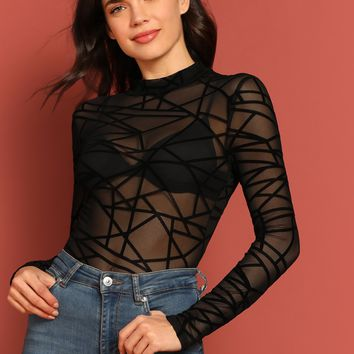 Mock-neck Sheer Mesh Geo Top Without Bra