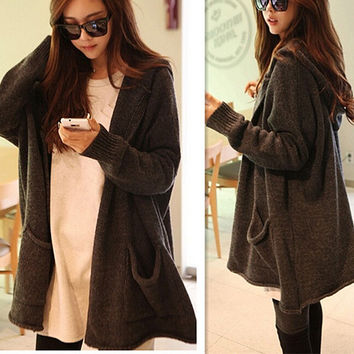 Hooded Sweater Coat Sweater Cardigan Outerwear