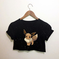 Eevee Pokemon Inspired Black Crop Top T Shirt Festival Emo Hipster Kawaii