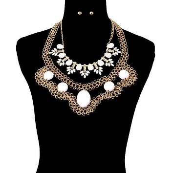 Stone with Chain Dramatic Necklace Set
