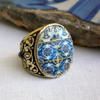 Portugal  Antique Tile Replica Ring,  Ilhavo, BLUE size M